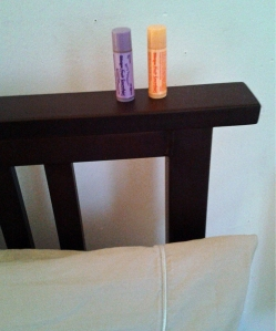 Blistex on the headboard